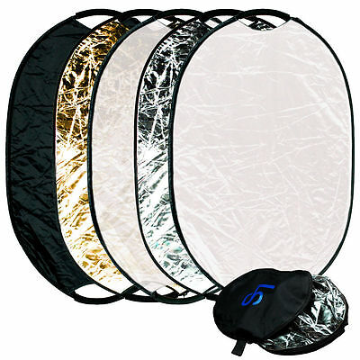 """Handheld OVAL 5-in-1 Multi Collapsible 24"""" x 36"""" Panel Reflector Photo Studio"""