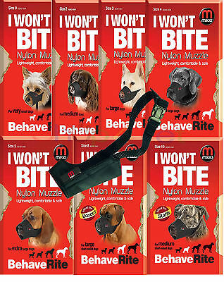MIKKI DOG MUZZLE - 13 Sizes for Male Dogs & Bitches as well as Short Nosed Dogs