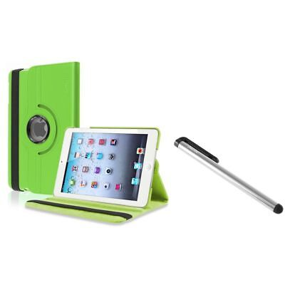 Green 360 Rotating Leather Case+Silver LCD Stylus for Apple iPad Mini