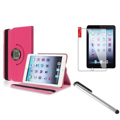 Hot Pink 360 Rotating Leather Case+Silver LCD Stylus+Shield for iPad Mini