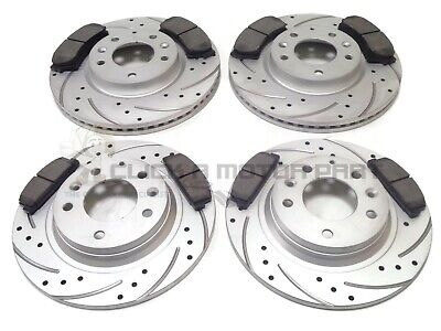 Mazda 6 2008-2012 Front & Rear Drilled Grooved Brake Discs And Mintex Pads Set