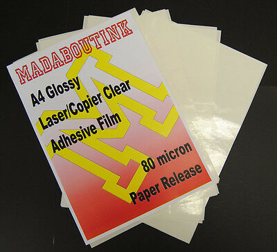 5 A4 Laser Printer Clear Adhesive Sticker Film Sheets 80mic Paper Release