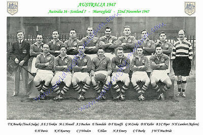 "AUSTRALIA 1947 (v Scotland) 12"" x 8"" RUGBY TEAM PHOTO PLAYERS NAMED"