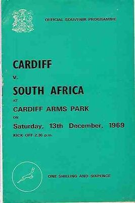 SOUTH AFRICA 1969 RUGBY TOUR PROGRAMME v CARDIFF 13 Dec