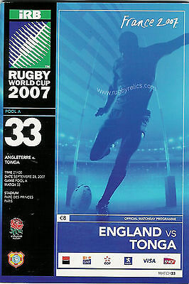 ENGLAND v TONGA RUGBY WORLD CUP 2007 PROGRAMME - MINT CONDITION