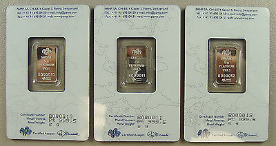 Lot of (3) Pamp Suisse 5 Gram .9995 Platinum Bullion Bars