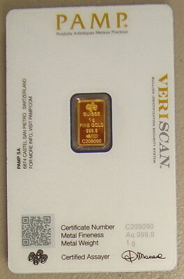Pamp Suisse 1 Gram .9999 Fine Gold Bullion Bar