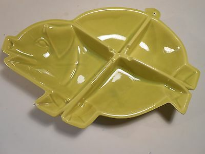 California Pottery Floretta Murray Chartreuse Pig Relish Dish 4 Sections issue