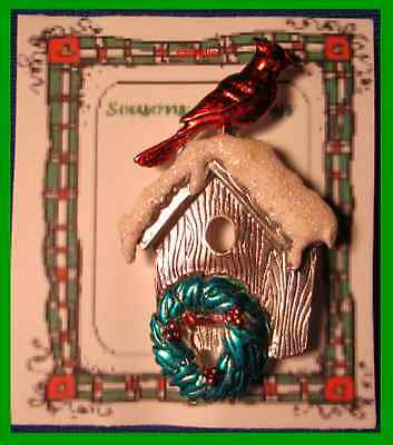 Christmas PIN #0268 Signed JJ Red Cardinal Birdhouse Silvertone & Enamel HOLIDAY