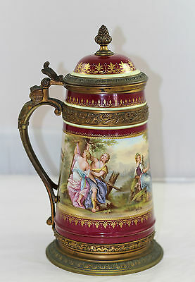 Huge Magnificent Hand Painted & Signed Beer Stein - Royal Vienna