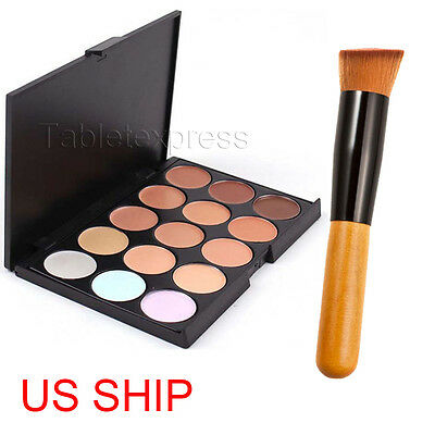 New 15 Colors Contour Face Cream Makeup Party Concealer Palette + Powder Brush