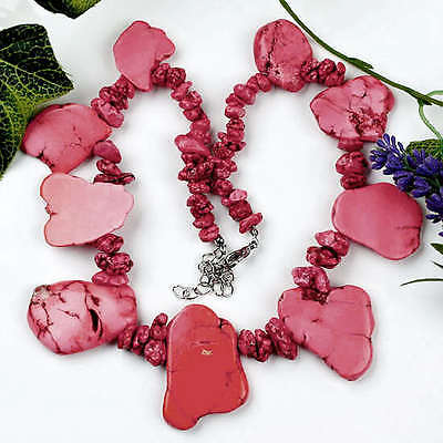 """Red Howlite Turquoise Gem Nugget Beads Necklace 18""""L"""