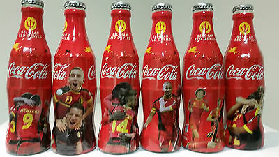 Coca Cola Belgium 2014 Belgium Red Devils set of 6 full wrapped glass bottles