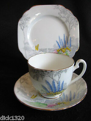 VINTAGE MELBA CHINA CUP/SAUC/PLATE TRIO 'GARDEN' PATTERN #5162 c.1940's EX