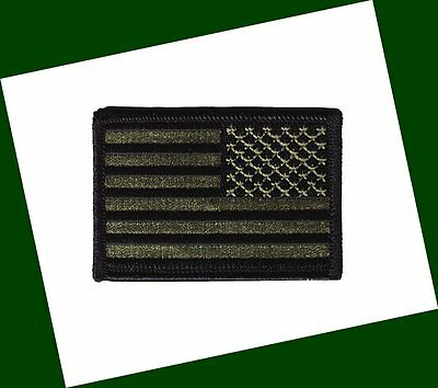 """HOOK/LOOP United States US flag 3""""x2"""" stars right black green  patch police"""