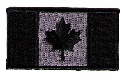"""IRON-ON Canada flag 2"""" x 1""""  black/silver biker SWAT police patch"""