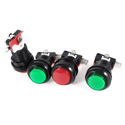 4 Pieces Panel 3Pin SPDT NC Green Red Push Button Momentary Switch AC 100-240V
