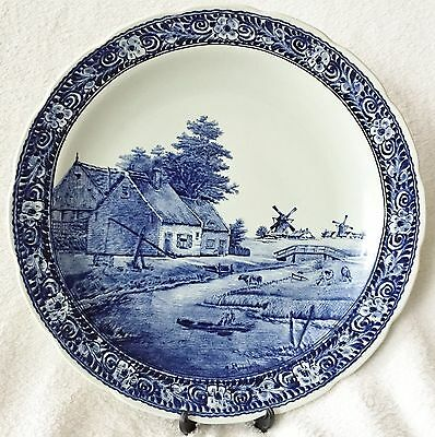 Huge Stunning Dutch Eathernware Delft Blue Wall Charger 15.5'' Inches