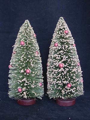 """Green w Gold Bottle Brush Trees 2pc vintage style 10"""" w Red bulbs NEW"""