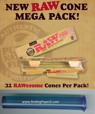 32 RAW Mega Pack Cones King Size Pre Rolled Natural Rolling Paper + Storage Tube
