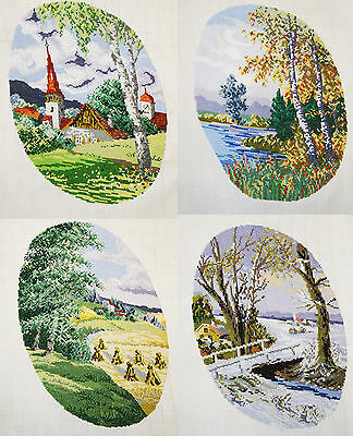 Completed Finished Cross Stitch Set  4 Four Seasons Spring Summer Autumn Winter