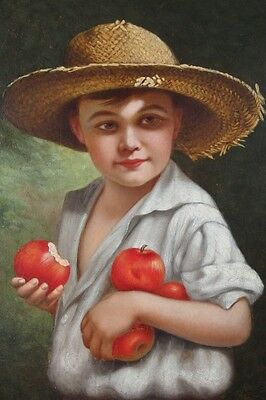 Antique Hugo A. Possner Portrait Oil Painting Of Boy Holding Apples
