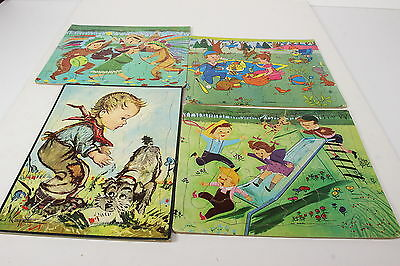 4 Childrens Vtg Tray Puzzles Built Rite & Donald Art Co Lithographed Sta-N-Place