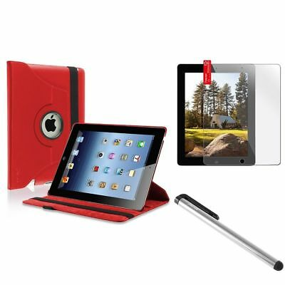 Red 360 Swivel Leather Case+Clear Protector+Silver Pen For iPad 4 4G
