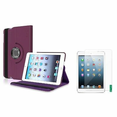 Purple 360 Rotating Leather Case+Matte LCD Film Shield for iPad Mini 1 2 3