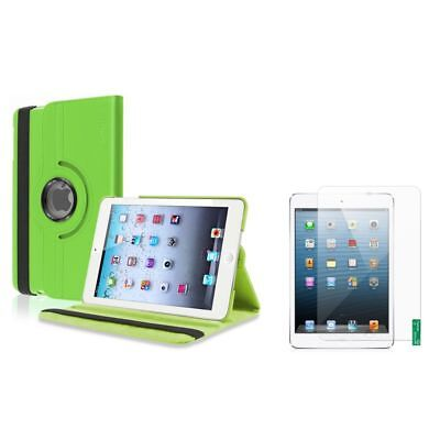 Green 360 Rotating Leather Case Cover+Matte LCD Film Shield for iPad Mini 1 2 3