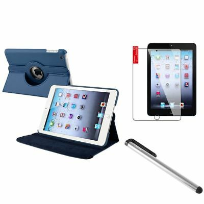 Navy Blue 360 Rotating Leather Case+Silver LCD Stylus+Shield for iPad Mini