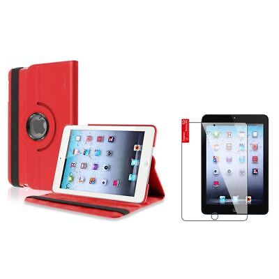 Red 360 Rotating Leather Case Cover+LCD Screen Film Shield for iPad Mini 1 2 3