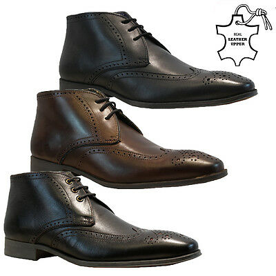 Mens Real Leather Italian Ankle Boots Casual Formal Brogue Office Wedding Shoes