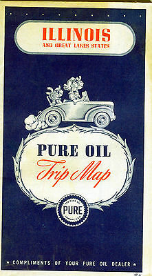 1947 Pure Oil Illinois Vintage Road Map / Nice Cover Graphics !!