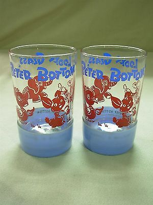 "2 Vintg Peter Bottom ""looky Glass"" Child's Tumbler Glass With Toy Bottom ~ Cute!"