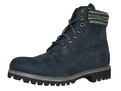 "Timberland Men's 6"" Inch Double Sole Boots Navy Plaid Collar Waterproof 6612A"