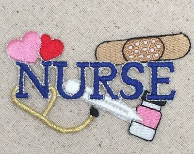 Blue Nurse Bandaid/Heart/Stethoscope/Medical Iron on Applique/Embroidered Patch