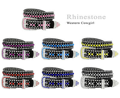 Western Colorful Rhinestone Cowgirl Studded Bling Women's Fashion Belt