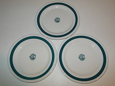 "Lot of 3 Falls Creek PA Jackson China White & Blue-Green 9.5"" Plates"