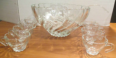 Colonial Crystal Hazel Ware Swirl New 10 Piece Punch Bowl Egg Nog Tom & Jerry