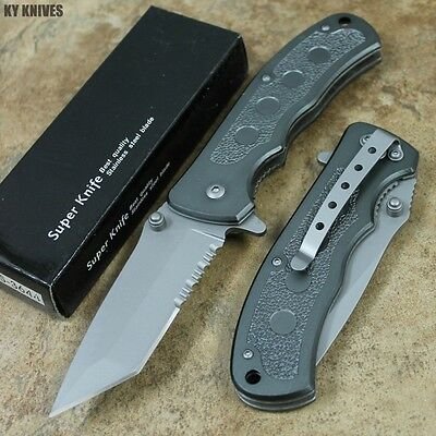 """8"""" GRAY Tactical Combat Assisted Open Pocket Knife NEW YC-S-3644 zix"""