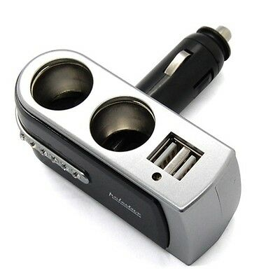 Dual USB & 2 Way Car Cigarette Lighter Socket Splitter DC 12V Charger Adapter