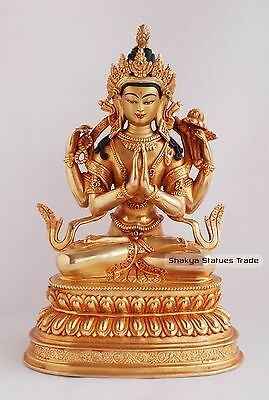 """Hand Carved 9.75"""" Chenrezig Copper Gold Gilded with Antique Finish Statue Patan"""