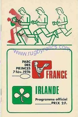 FRANCE v IRELAND 7 Feb 1976 at Paris RUGBY PROGRAMME