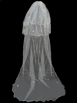 "3 Tier Ivory Long Bridal Wedding Veil With Comb 94"" Brand New"