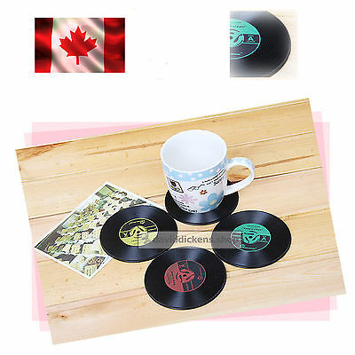Vintage Vinyl Coasters Set of 4 Groovy CD Record Gift Novelty Bar Drinks Cup Mat