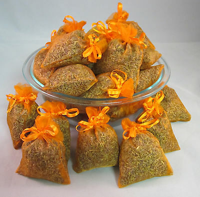 Set of 50 Lavender Sachets made with Orange Organza Bags