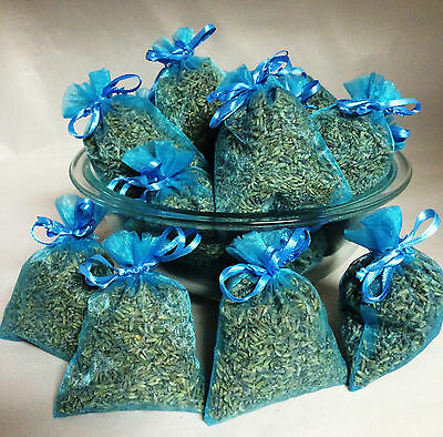 Set of 30 Lavender Sachets made with Turquoise Organza Bags