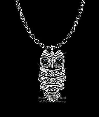 "BRIGHT EYES OWL NECKLACE - GODDESS OF THE NIGHT JEWELRY - GIFT SALE  24""CHAIN*"