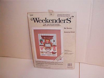 """COUNTED CROSS STITCH KIT-INCLUDES DESIGNER MAT-""""BE SEATED""""-SO CUTE! NEW&SEALED!"""